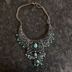 Forever 21 Blue Stone Filigree Statement Necklace